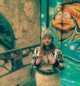 Sophie at the LookUp Outdoor Gallery, Market St, Bridgend